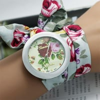 New design Ladies flower cloth wrist watch fashion women dress watch high quality fabric watch sweet girls watch (Color: Multicolor) = 1747745348