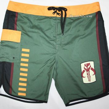 Licensed cool Star Wars The Force Awakens BOBA FETT Hunter Mens Board Shorts Swim Trunks Small