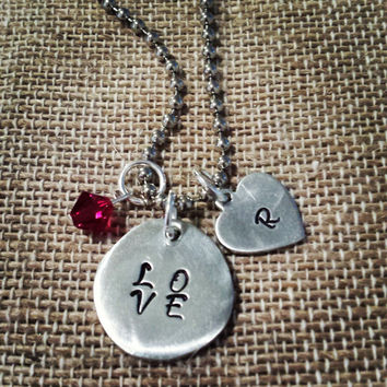 """Hand Stamped """"LOVE"""" with Initial charm"""