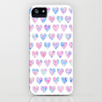 Blue & Pink Watercolor Hearts iPhone & iPod Case by An Luong