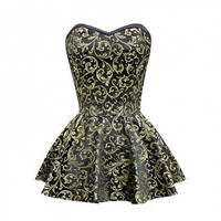 Black and Gold Brocade Peplum Corset