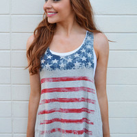 Stars and Stripes Tank Grey