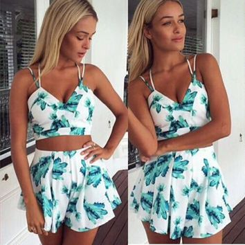 Women Ladies Printed Set 2pcs V-Neck Crop Tops Loose Shorts Sets Women Suits Female Bodycon Party Playsuit Clubwear