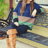 Three Of A Kind Sweater: Navy Blue/Multi