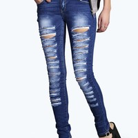 Evie Low Rise Slashed Leg Skinny Jeans