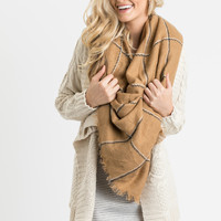 Teresa Tan Plaid Blanket Scarf