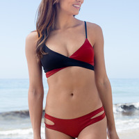 L*Space Swim - Rocky Blocked Top | Black/Redwood