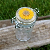 Small sunflower nug jar, Handmade colorful glass storage jar air tight mason jar pearl