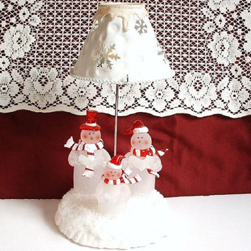 Holiday Candle Holder Lamp With Shade Tea Light Frosted Glass Snowman Christmas