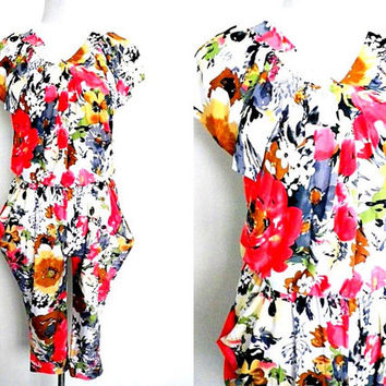 floral baggy harem jumpsuit (small to medium)