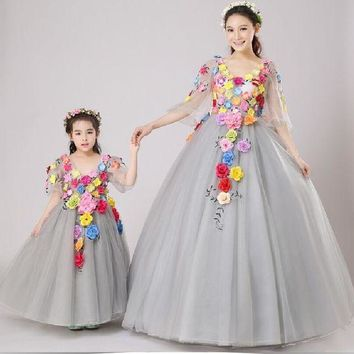 CREYLD1 Family-look  Mother Daughter Dresses for Weddings  2018 Summer Family-clothing Mommy and Daughter 3D Flowers Matching Outfits
