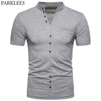 Men's Hipster Slim Fit Short Sleeve Henley Shirt 2018 Brand New Classic V Neck Tshirt Men Solid Color Basic Tee Shirt Homme 2XL
