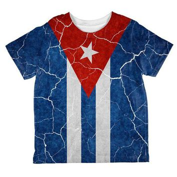 DCCKIS3 Distressed Cuban Flag All Over Toddler T Shirt
