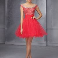Short Homecoming Dresses From Sticks And Stones By Mori Lee Dress Style 9292 Tulle with Satin and beading