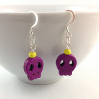 Sugar Skull Earrings Flat Day of the Dead Purple Yellow