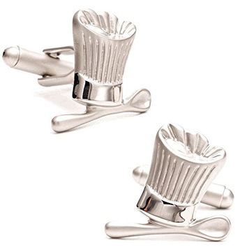 Mens Cufflinks Professional Cook Baker Silver Tone Chef Hat and Spoon Cuff Links C4324