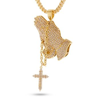 The 14K Gold Rosary Praying Hands Necklace