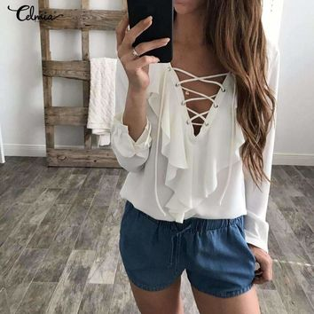 Celmia Women Chiffon Blouse Elegant Lace Up V Neck Ruffles Long Sleeve Tops Blusas Mujer Casual Plus Size Shirt