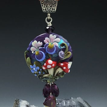 Iris and Mushroom Fairy Garden lampwork bead pendant for necklaces SRA Leteam