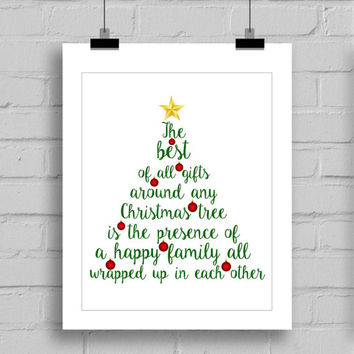 Merry Christmas Tree Themed Word Art Wall Art Print - Christmas Home Decor - PDF/JPG (8x10 Inches)