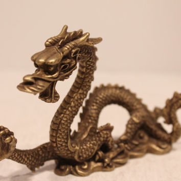 Beautiful Asian Bronze Brass Dragon Figurine Statue Great for Feng Shui Good Luck