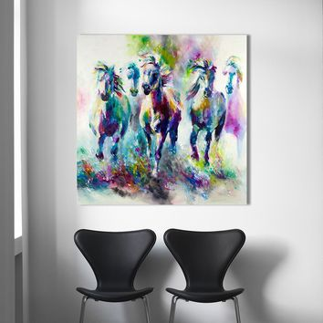 HDARTISAN Colorful wall decorations The running horses Canvas Material Oil Painting Canvas Prints Wall Art Pictures for Living