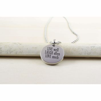 Thick Disc Necklace - LIVE LAUGH LOVE