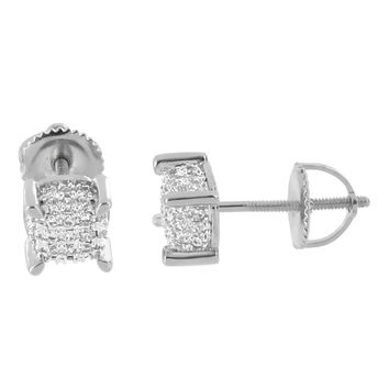 Iced Out Hip Hop Earrings Studs 14K White Gold Finish Screw Back Prong Set 6mm Mens