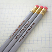 MATURE swear pencils three 3 grey pencils by thecarboncrusader