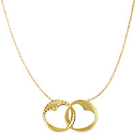 14K  Yellow Gold Interconnected Circle With Cut Out Heart Pendants On 16 To17 Inch Expandable Necklace
