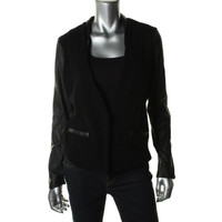 Private Label Womens Cashmere Faux Leather Trim Jacket