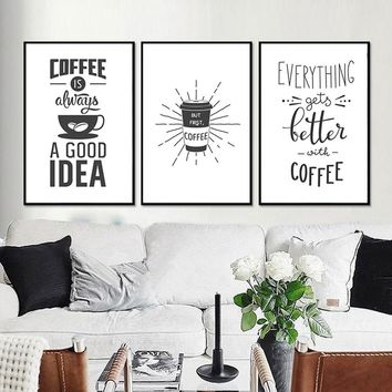 Coffee Canvas Paintings Black and White Posters Prints Nordic Wall Art Pictures kitchen Living Room Home Decor Drop shipping