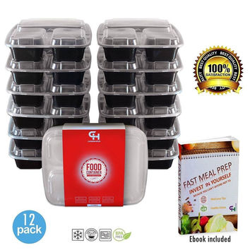 ContainersHub- Bento Box Tupperware Divided Storage Containers with Lids/ Rec...