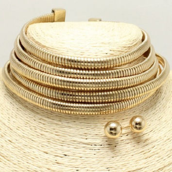 "11"" gold 5 multi layer coil choker bib collar necklace .50"" earrings 1.75"" wide"