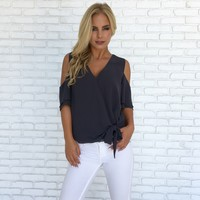 Ice Cold Shoulder Blouse in Charcoal