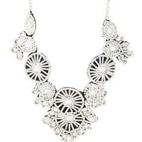 White Seed Beaded Statement Bib Necklace by Charlotte Russe