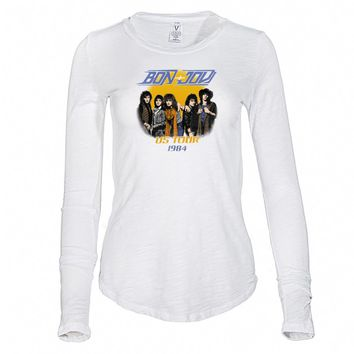 Vinyl Icons Bon Jovi - US Tour 1984 VIBJ-021KI Women's Long Sleeve Slub Tee Shirt