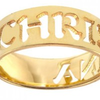 Personalized Handmade Name Ring Sterling Silver w/ 24K Gold Overlay