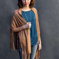 Classic Faux Suede Fringe Wrap in Camel