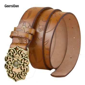 New Fashion Women Belts Cowhide Carved Flower Strap Genuine Leather Belts for Women Pin Buckle Strap Vintage high quality
