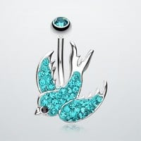 Tiffany Inspired Swallow Multi-Gem Belly Button Ring Body Jewelry