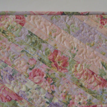 Quilted Mug Rug Snack Mat Coaster Placemat #97 Patchwork Eco-Friendly Summer Garden Pastel Florals
