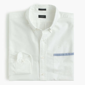 J.Crew Mens Slim Vintage Oxford Shirt With Tipped Pocket