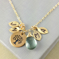 Family Tree Necklace, Initial Necklace, Birthstone, Christmas Gift, mother Gift, Grandmother Gift, mother Daughter, March Birthstone, Family