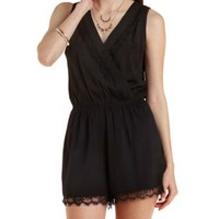 Black Lace-Trim Sleeveless Romper by Charlotte Russe