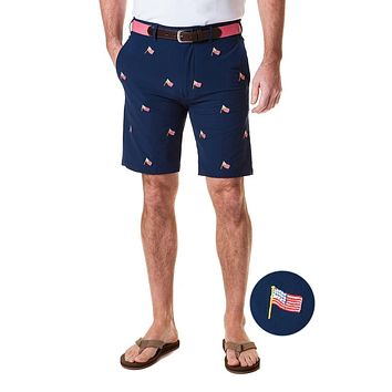 ACKformance Short with USA Flag in Nantucket Navy by Castaway Clothing