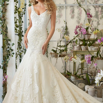 Crystal Beaded Embroidery on Tulle Wedding Dress | Style 2814 | Morilee