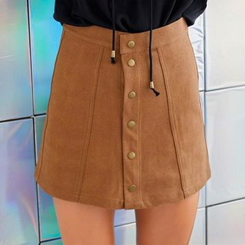 2017 Fashion Women High Waist Plain Skater Flared Pleated Short Mini Skirt Short Winter Autumn Women Casual Clothes With Buttons