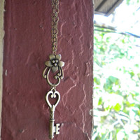 Antique style brass Key and Flower Necklace