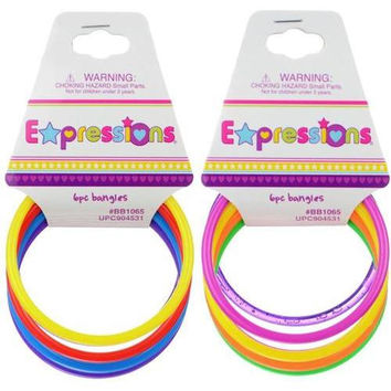 Expressions 6 pc Colored Plastic Bangles